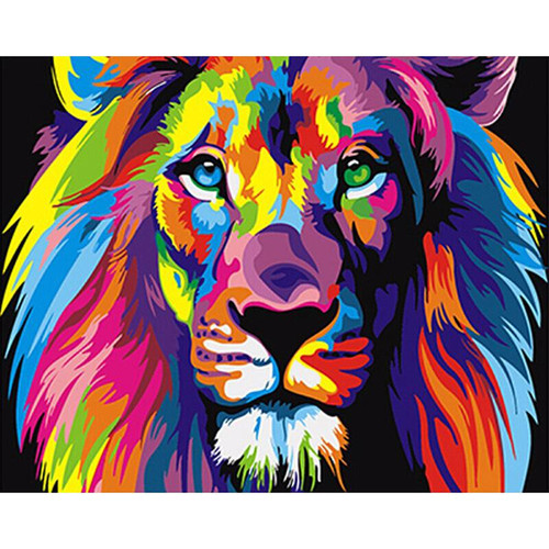 Colorful Abstract Lion - DIY Painting By Numbers Kit