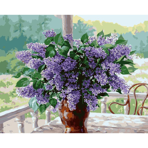 Lavender Flowers In Vase - DIY Painting By Numbers Kit