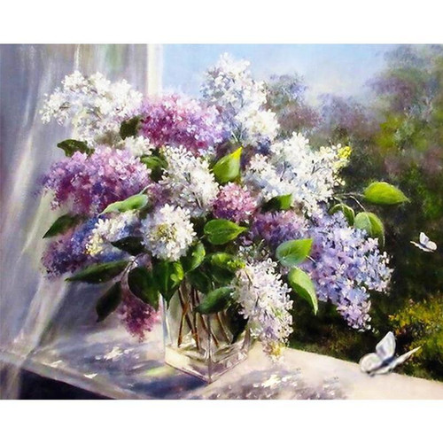 Flowers by the Parapet - DIY Painting By Numbers Kit