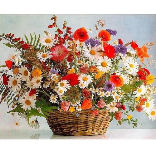 Multicolored Flower Basket - DIY Painting By Numbers Kits