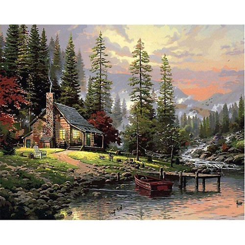 Cabin in a Forest - DIY Painting By Numbers Kits