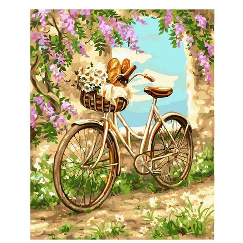 Flowers and Baguette - DIY Painting By Numbers Kit