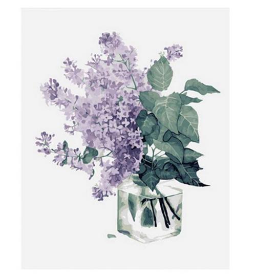Purple Flowers & Vase - DIY Painting By Numbers Kit