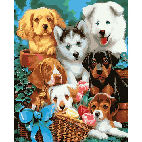 Cute Puppies - DIY Painting By Numbers Kit