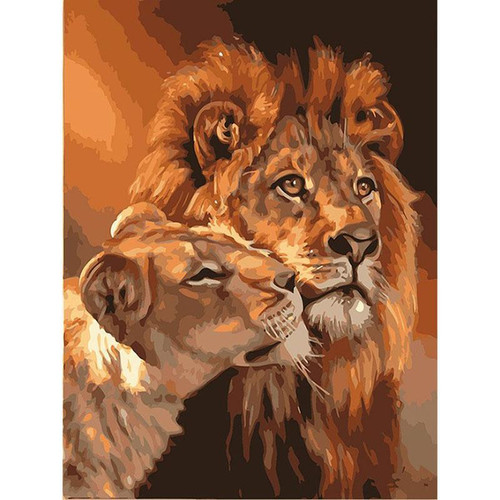 Lion Couple - DIY Painting By Numbers Kit