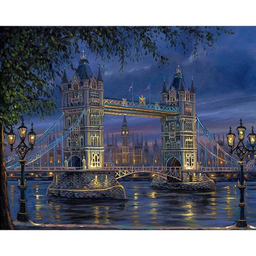 London Bridge at Night - DIY Painting By Numbers Kits