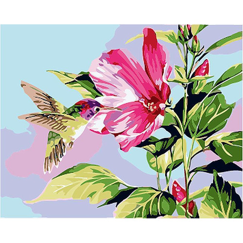 Humming Bird On Flower - DIY Painting By Numbers Kit