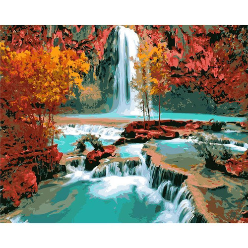 Turquoise Waterfalls - DIY Painting By Numbers Kit