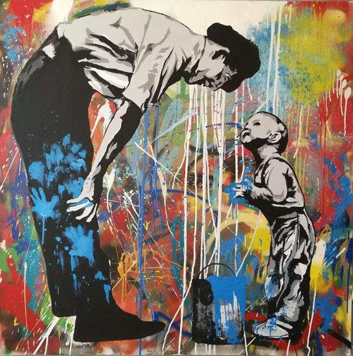 Abstract Father And Little Son - DIY Painting By Numbers Kit