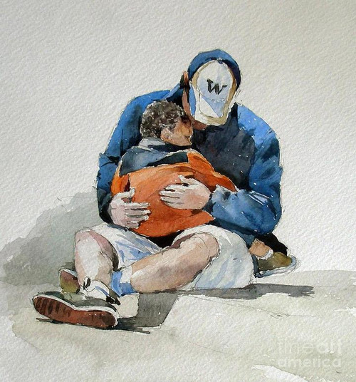 Sitting Father And Son - DIY Painting By Numbers Kit