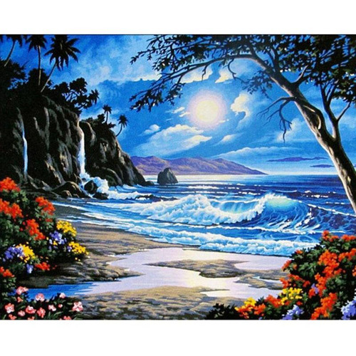 Cali Beach at Night - DIY Painting By Numbers Kit