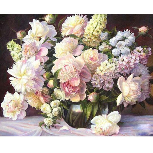 Pastel Bowl of Flowers - DIY Painting By Numbers Kit
