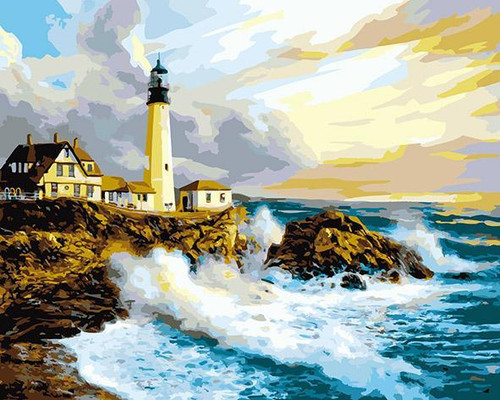 Lighthouse At the Shore - DIY Painting By Numbers Kit