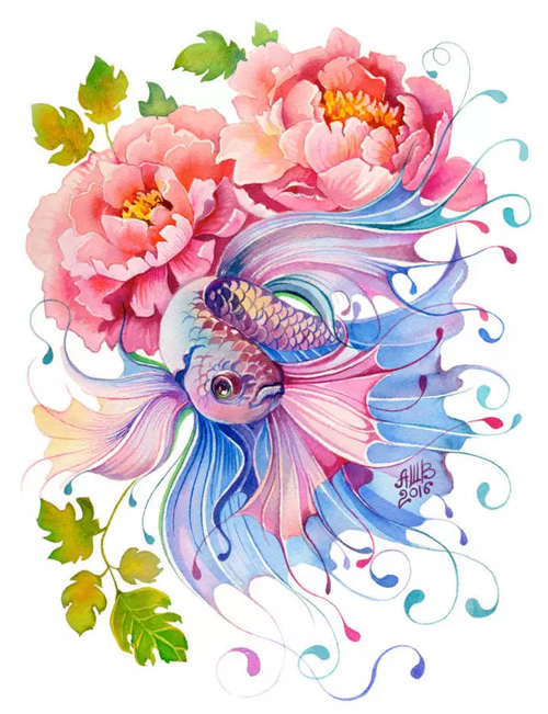 Elegant Fish & Flower - DIY Painting By Numbers Kit