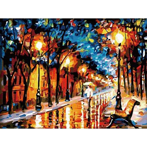 Abstract City At Night - DIY Painting By Numbers Kit