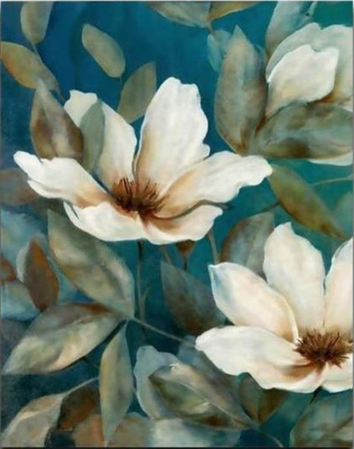 White Flowers & Leaves - DIY Painting By Numbers Kit
