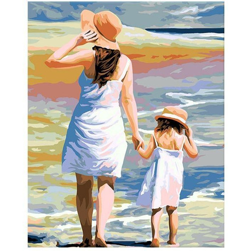 Mom and Daughter Beach - DIY Painting By Numbers Kits