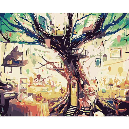 Abstract Tree House - DIY Painting By Numbers Kit