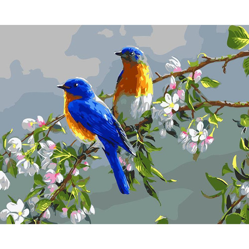 Birds On Branch - DIY Painting By Numbers Kit