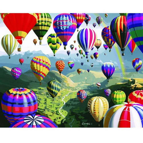 Colorful Air Balloons - DIY Painting By Numbers Kit