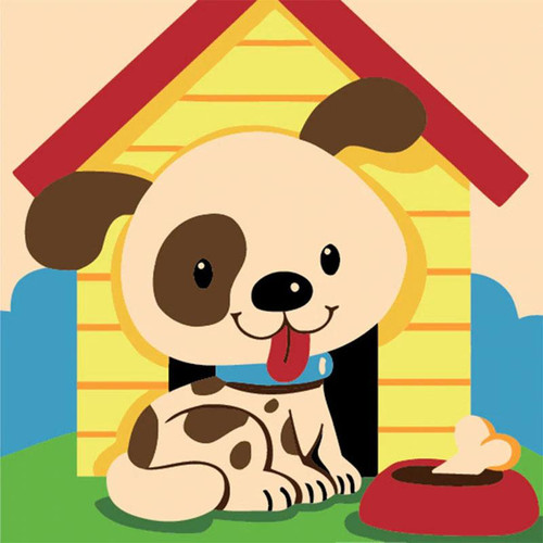 Silly Puppy - DIY Painting By Numbers Kit