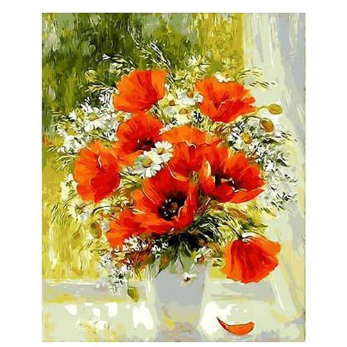 Orange Flower Vase - DIY Painting By Numbers Kits