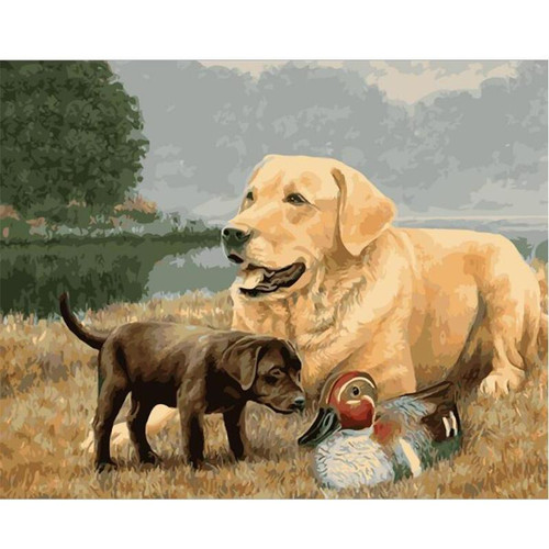 A Puppy and her Mother - DIY Painting By Numbers Kit