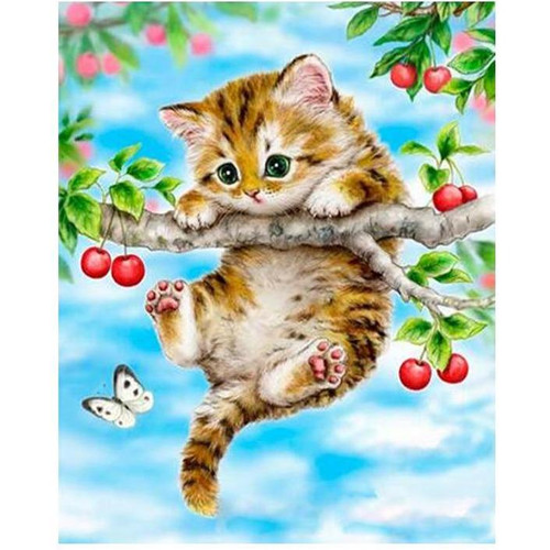 Cat Stuck in a Tree - DIY Painting By Numbers Kit