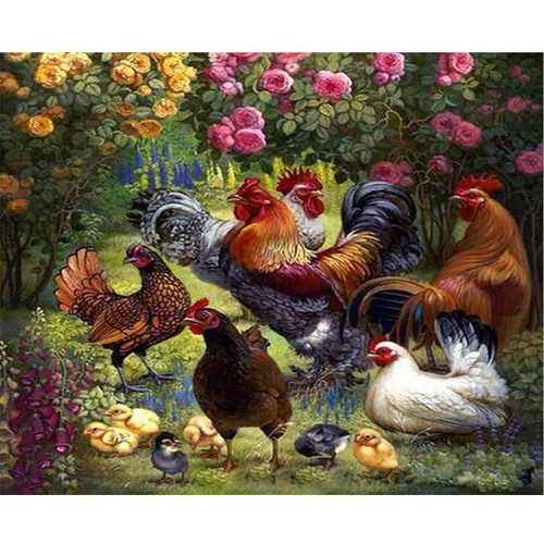 Chicks and Roosters - DIY Painting By Numbers Kit