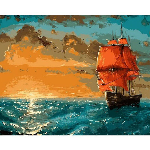 Abstract Ship In The Sea - DIY Painting By Numbers Kit