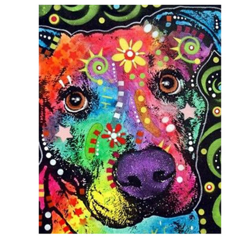 Cute Eyed Color Dog - DIY Painting By Numbers Kit