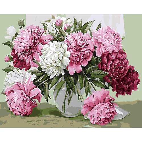 Beautiful Flowers In Pot - DIY Painting By Numbers Kit