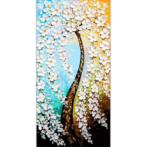 White Flower Tree - DIY Painting By Numbers Kit