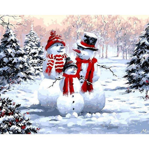 Snowman and his Family - DIY Painting By Numbers Kit
