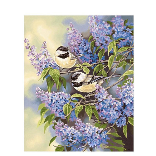 Birds On Lavender Tree - DIY Painting By Numbers Kit