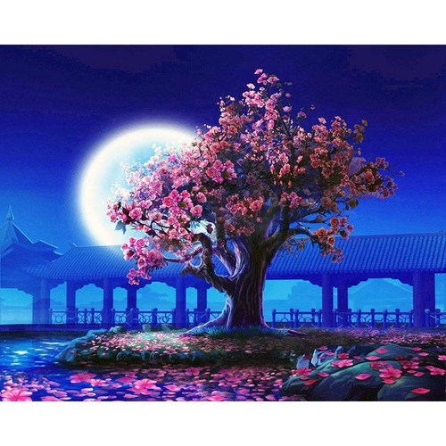 Sakura Tree Under The Moon - DIY Painting By Numbers Kit