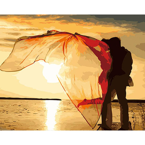 A Couple In Sunset - DIY Painting By Numbers Kit