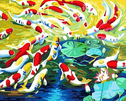 Abstract Fish Pond - DIY Painting By Numbers Kit