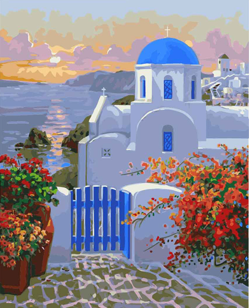 Blue Dome Church - DIY Painting By Numbers Kit