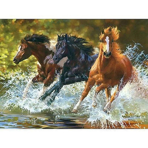 Running Horses - DIY Painting By Numbers Kit