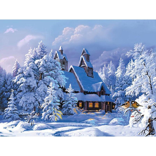 A House In Winter Snow - DIY Painting By Numbers Kit