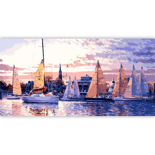 Sailing Boats Evening - DIY Painting By Numbers Kit