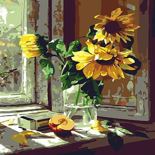 Sunflowers In Glass - DIY Painting By Numbers Kit