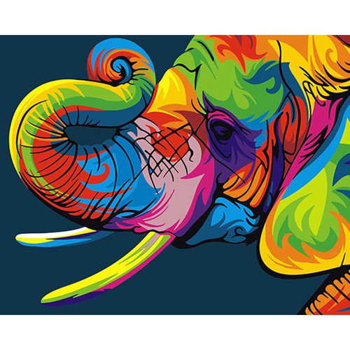 Colorful Elephant Head - DIY Painting By Numbers Kit
