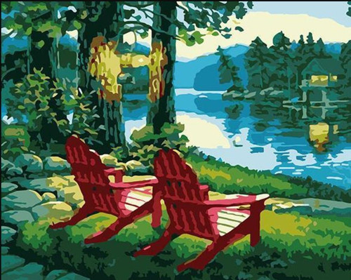 Lakeside Chairs - DIY Painting By Numbers Kit