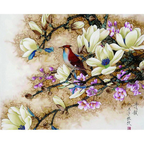 Bird And Flowers - DIY Painting By Numbers Kit