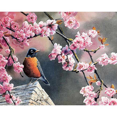 Bird On Sakura Tree - DIY Painting By Numbers Kit