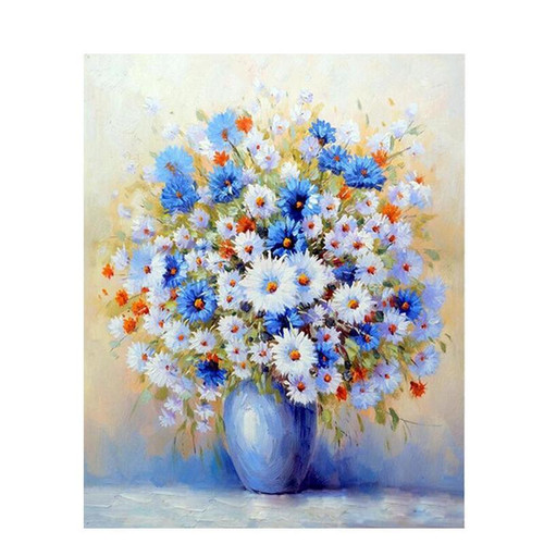 Blue And White Flowers - DIY Painting By Numbers Kit