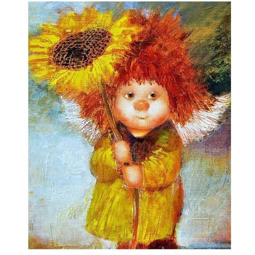 Baby With A Flower - DIY Painting By Numbers Kit