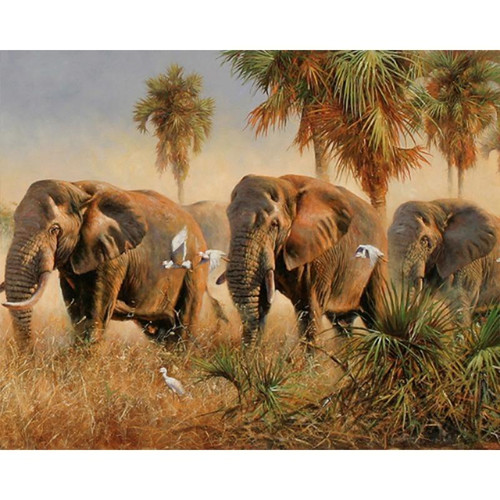 Herd of Elephants - DIY Painting By Numbers Kits